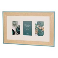 Bergamo Blue and Cream Hand Crafted Wood Collage Picture Frame holds three 4x6