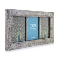 Jadu Hand Crafted Wood Picture Frame Triple 4x6